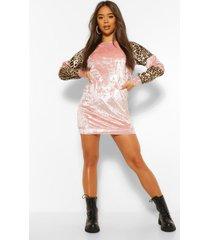 leopard contrast velvet colour block dress, pink