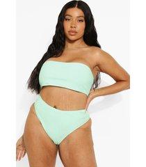 plus geribbeld bikini broekje met hoge taille, mint