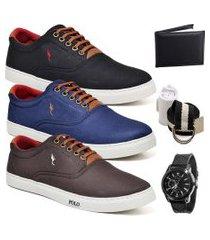 kit 3 pares sapatênis polo blu casual preto/azul/café acompanha cinto + meia + carteira + relógio