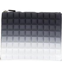 no ka' oi faded effect padded clutch bag - grey