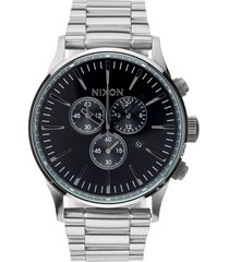 nixon 'the sentry' chronograph bracelet watch, 42mm in silver/black at nordstrom