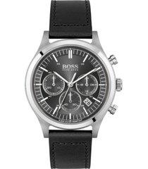 boss men's chronograph metronome black leather strap watch 44mm