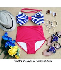 nautic bow retro high waist swimsuits (blue & white striped top and red bottom)
