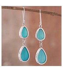 natural leaf dangle earrings, 'petal illusion in aqua' (peru)
