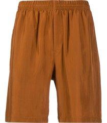 msgm straight-leg silk shorts - brown