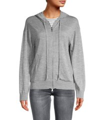 zadig & voltaire women's sixtine embellished skull merino wool zip hoodie - grey - size s