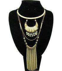 collar artesanal blanco dorado alamoda acl 12785