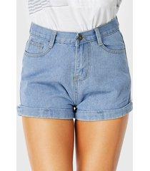 light blue denim button pockets zip design shorts