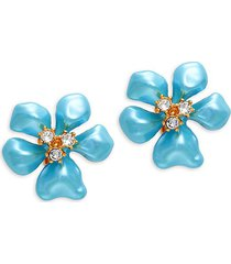 goldplated, faux pearl & crystal flower clip-on earrings