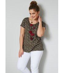 shirt janet & joyce kaki::wit