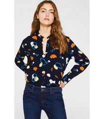 blusa henley con lenzing ecovero azul marino esprit