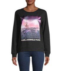 karl lagerfeld paris women's sunset eiffel cotton-blend sweatshirt - black - size xxs