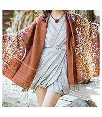 silk batik shawl, 'fireworks on copper' (thailand)