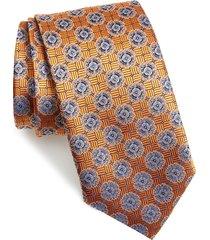 men's canali floral medallion silk tie, size regular - orange
