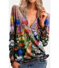 camicetta casual da donna con scollo a v e maniche lunghe con stampa floreale