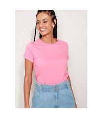 camiseta feminina básica com bordado manga curta decote redondo rosa