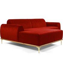 sofá 3 lugares com chaise base de madeira euro 230 cm veludo vermelho  gran belo
