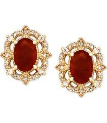 certified ruby (1-1/3 ct. t.w.) & diamond (1/8 ct. t.w.) stud earrings in 14k gold