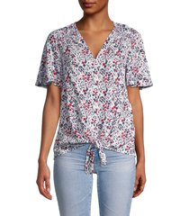 beach lunch lounge women's adella floral tie-front shirt - skylark - size xs