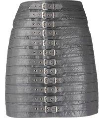 manokhi buckle-fastening high-waisted skirt - grey