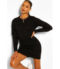balloon sleeve knitted dress, black