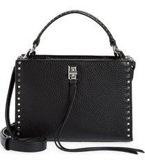 rebecca minkoff darren small zip top handle leather satchel - black