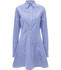 jw anderson godet-hem striped shirt-dress - blue