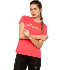 camiseta coral asics silver ss top graphic