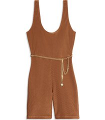 women's we wore what sleeveless chain bodysuit, size x-small - brown
