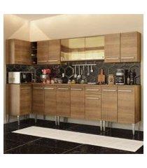 cozinha completa de canto madesa emilly mega com armário vidro reflex e balcão rustic rustic