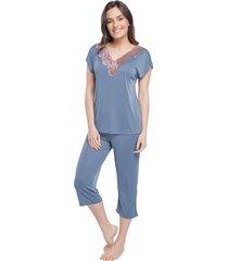 pijama feminino capri azul denim com renda rosê acobreado - kanui
