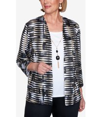 alfred dunner three quarter sleeve abstract print two-for-one knit top with detachable necklace