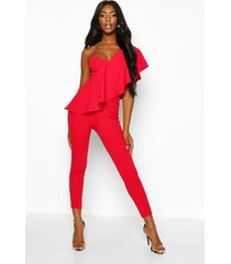 one shoulder ruffle jumpsuit, red