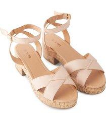 sandalias con broche color rosado, talla 38