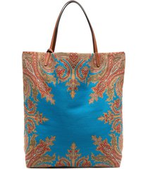 etro reversible paisley print tote bag - blue