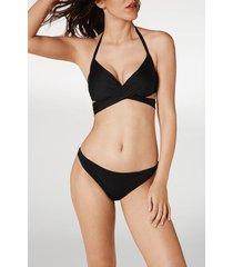 calzedonia indonesia padded criss-cross straps triangle bikini top woman black size 1