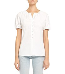 theory women's puff-sleeve top - white - size s