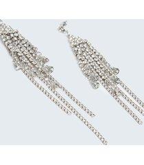motivi orecchini pendenti con frange in strass donna grigio