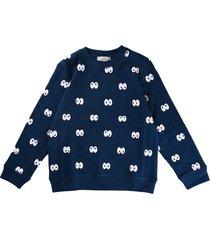 stella mccartney blue scoop neck sweatshirt with eyes print