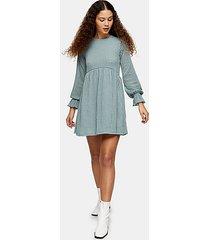 sage check mesh long sleeve mini dress - sage