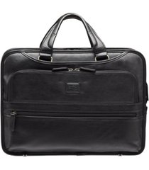 "beverly hills collection men's triple compartment briefcase with rfid secure pocket for 15.6"" laptop and tablet"