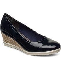 woms court shoe sandalette med klack espadrilles blå tamaris