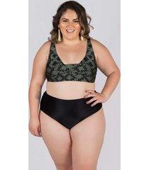 biquãni meeloo plus size hot pants franzida e suti㣠bã¡sico estampa preto croco - verde militar - feminino - dafiti
