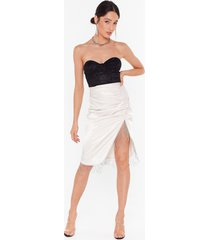 womens takes two to tango satin fringe skirt - oyster