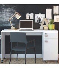 mesa para computador 1 gaveta 1 porta malta branco - lukaliam móveis