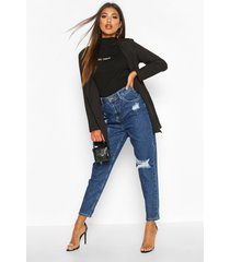 sophie high waisted distressed mom jeans, dark blue