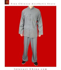 fine linen grey kung fu martial arts tai chi uniform suit tailor custom made