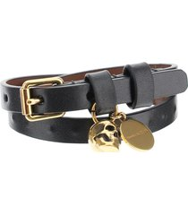 alexander mcqueen pionier double wrap leather bracelet