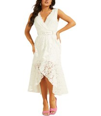 guess randa belted high-low lace dress