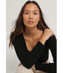 trendyol blus med fyrkantig halsringning - black